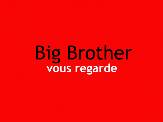 Big Brother vous regarde en fond rouge