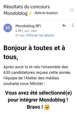 Mail reçu pour la sélection Mondo